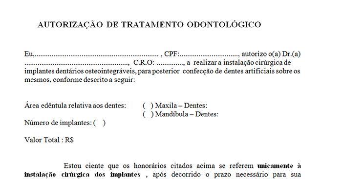 modelo contrato tratamento odontológico implantes